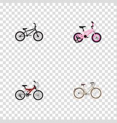 set of bicycle realistic symbols with bmx kids vector image