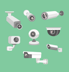 set security camera cctv cartoon vector image