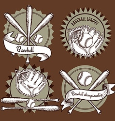 Sketch baseball emblems vector