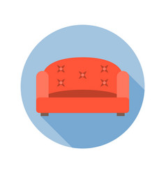sofa icon with long shadow vector image