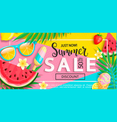 summer sale banner with summer symbols vector image
