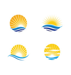 Sun water wave icon vector