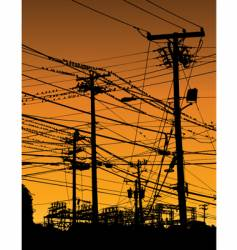 Telephone poles and wires vector