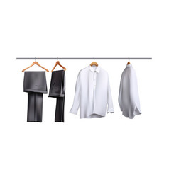 Trousers and shirts hanging vector