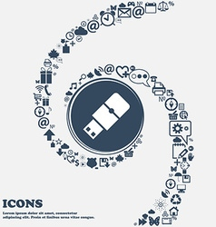 USB flash sign icon in the center Around the many vector image