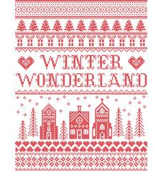 Winter wonderland village christmas pattern vector
