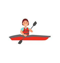 Woman engaged in kayaking cheerful young girl vector