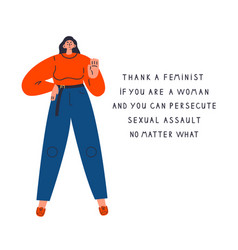 Woman say no to sexual assaultfeminism concept vector
