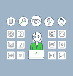 woman working by laptop isolated icons set vector image