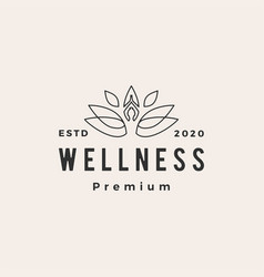 yoga wellness leaf hipster vintage logo icon vector image