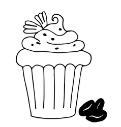cake with coffee cupcake drawn in outline vector image vector image
