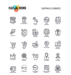 Flat line icons design - shopping and e commerce vector