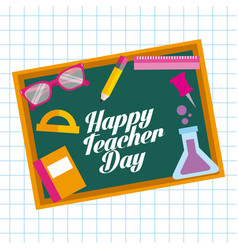 Happy teacher day card chalkboard elements school vector