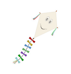 paper kite with smiling face vector image vector image