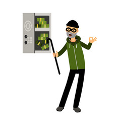professional burglar character in a mask opened a vector image vector image