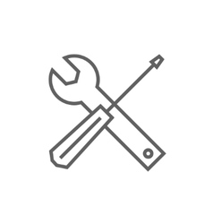Screwdriver and wrench tools line icon vector image vector image