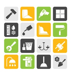 Silhouette Construction and building equipment vector image vector image