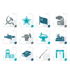 Stylized communism socialism and revolution icons vector