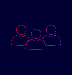 team work sign line icon with gradient vector image