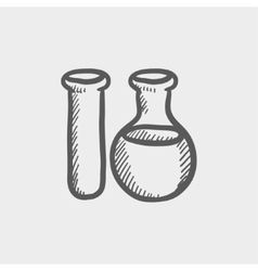Test tube sketch icon vector image vector image