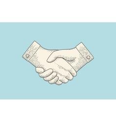 Vintage drawing of handshake in engraving style vector