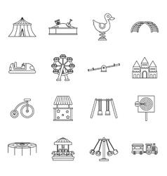 Amusement park icons set outline style vector image