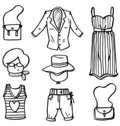 Doodle of women clothes set hand draw vector