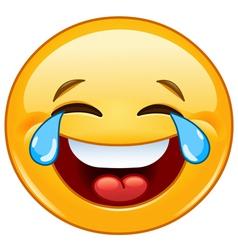 emoticon with tears of joy vector image vector image
