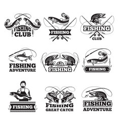 fishing club badges or labels design template with vector image vector image