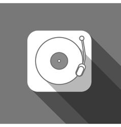 Flat long shadow trendy record player icon vector image