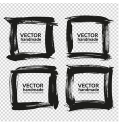 four square frames from black abstract textured vector image