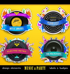 Retro Music Badge Labels vector image