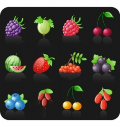 berries black icon set vector image vector image