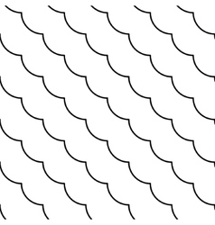 Black and white diagonal fish scale pattern vector image