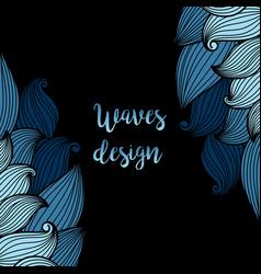 blue waves on black background card vector image