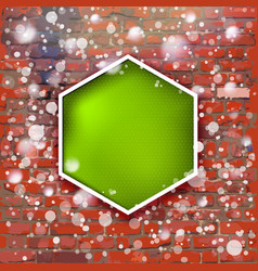 brick wall with bright green label and fall of vector image
