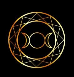 Gold Wiccan symbol Triple Goddess vector image vector image