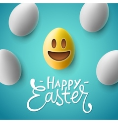 Happy easter easter eggs with smiling emoji face vector