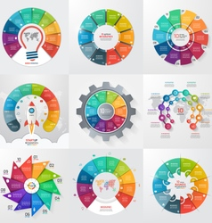 set of 9 circle infographic templates with 10 vector image vector image