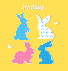 set of colorful rabbits silhouette paper vector image vector image