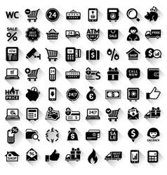 Shopping set flat black icons vector image vector image