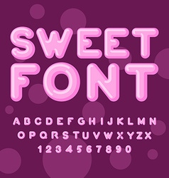 Sweet font Pink letters Lollipops lettring ABC of vector image vector image