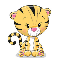 cute cartoon tiger vector image
