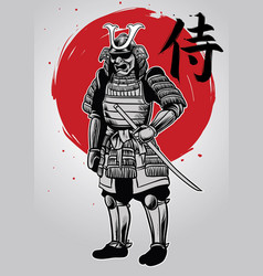 hand drawing of samurai warrior with samurai word vector image vector image
