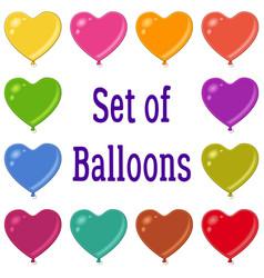 holiday heart shaped balloons set vector image vector image