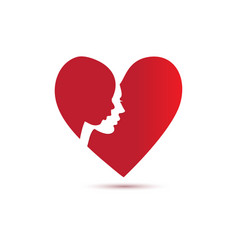 mother and child silhouette in red heart vector image