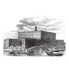 Stockholm Palace vintage engraving vector image