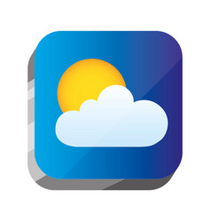 3d button with sun and cloud design vector