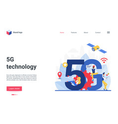 5g network modern landing page with networking vector image
