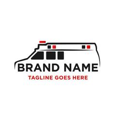 Ambulance car logo design vector